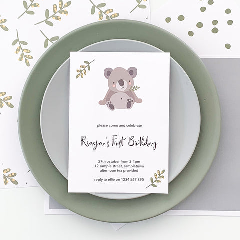 Cute Koala Invitation Printable Download | Emma Smith Event Stationery