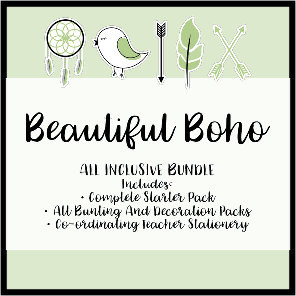 Fresh Green Boho Classroom Decor Printable Download Bundle