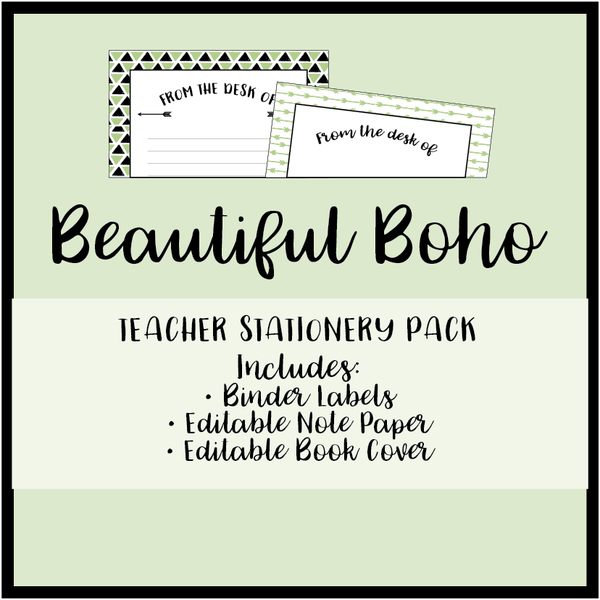 Fresh Green Boho Teacher Stationery Printable Download Bundle