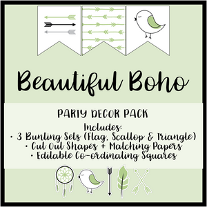 Fresh Green Boho Party Decoration Printable Download Bundle