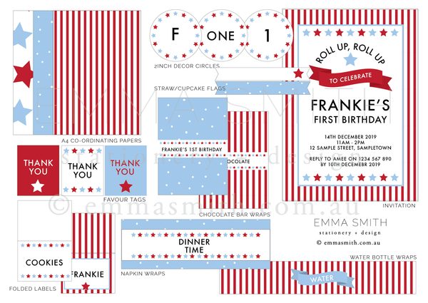 Circus Carnival Theme Birthday Party Printable Download Decorations