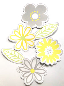 Yellow Daisy Party Decoration Printable Download Shapes Flat Lay