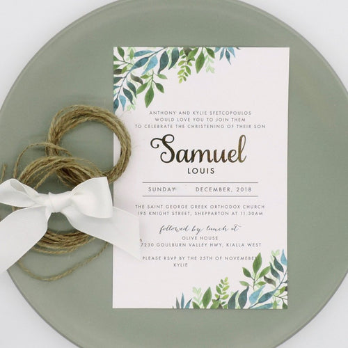 Green Foliage Baptism or Christening invitation. Affordable Printable. Emma Smith