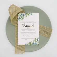 Minimal Green Foliage Baptism or Birthday Party invitation. Affordable Printable. Emma Smith