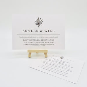 Grey Tropical Wedding Invitation. Affordable Printable. Emma Smith