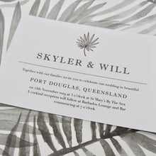 Grey Tropical Invitation. Affordable Printable. Emma Smith