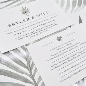 Tropical Foliage Wedding Invitation. Affordable Printable. Emma Smith