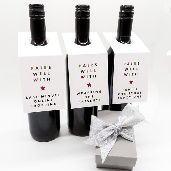 Minimal Christmas Wine Bottle Toppers | Emma Smith Event Stationery
