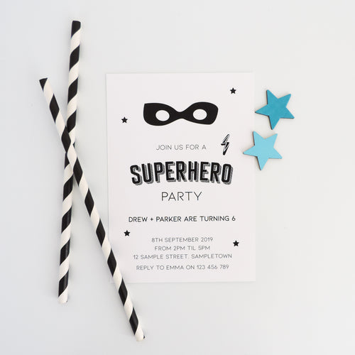 Customised Superhero Gender Neutral Birthday Party invitation. Affordable Printable. Emma Smith