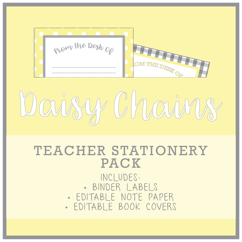 Yellow Daisy Teacher Stationery Printable Download
