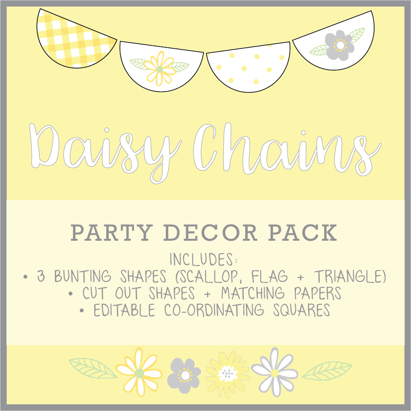 Yellow Daisy Party Decoration Printable Download