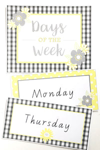 Yellow Daisy Classroom Decor Pack Printable Download Days of the Week
