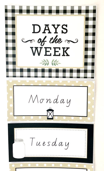 Farmhouse Theme Printable Download Classroom Decor Days of the Week