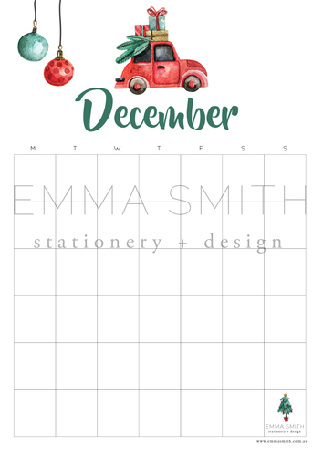 Free December Planner Calendar Template Download | Emma Smith Event Stationery