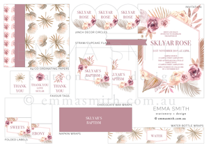 Desert Pink Floral Digital Printable Party Download | Emma Smith Stationery + Design