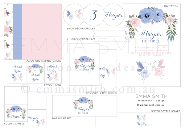 Enchanted Fairy Garden Printable Party Package Editable Template