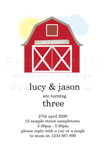 Farmyard Barn Invitation download printable template | Emma Smith Event Stationery