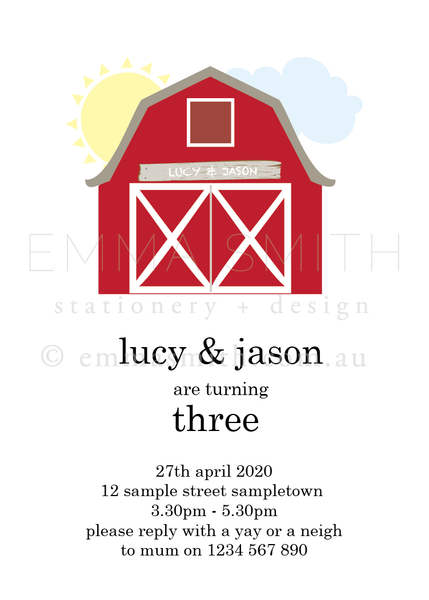 Farmyard Barn Birthday Party Printable birthday invitation download template | Emma Smith Event Stationery