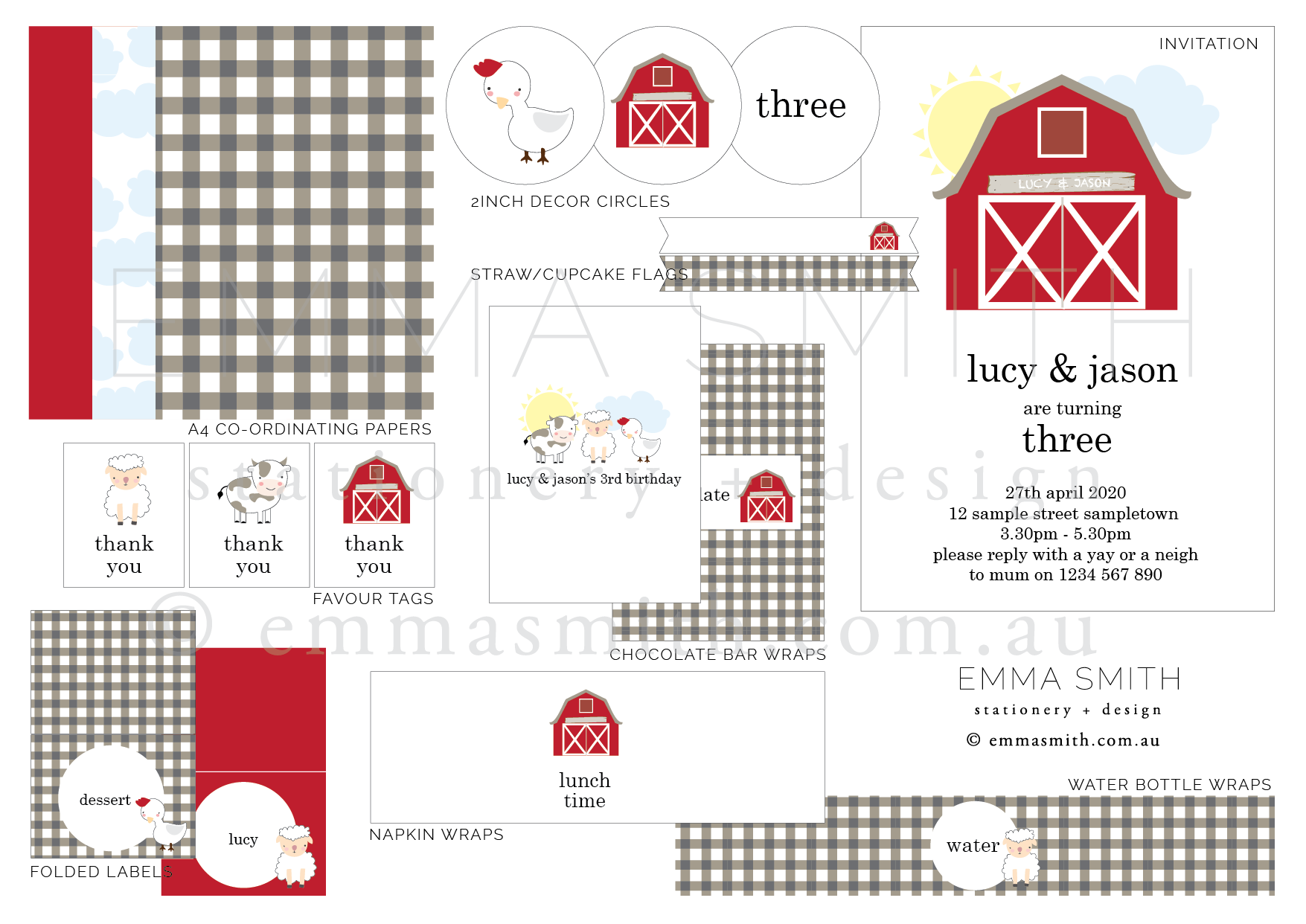 Farmyard Barn Birthday Party Printable birthday download template | Emma Smith Event Stationery