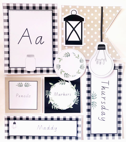 Farmhouse Theme Printable Download Classroom Decor Flat Lay