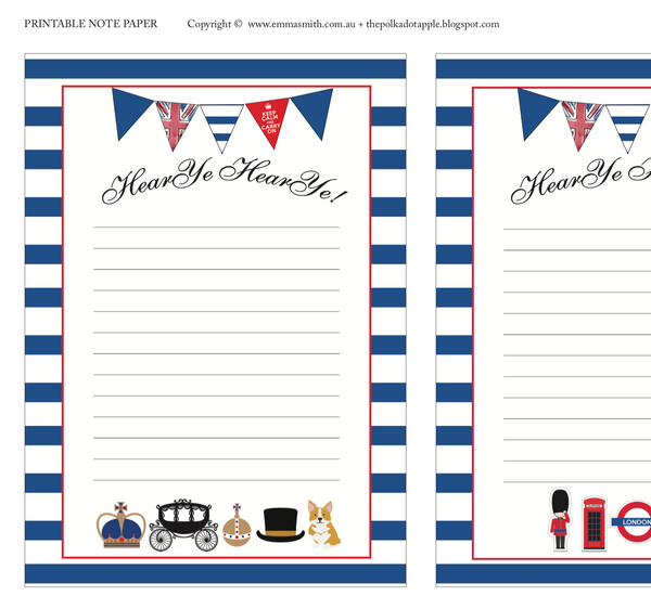 Free British Royal London Note Paper Download Printable