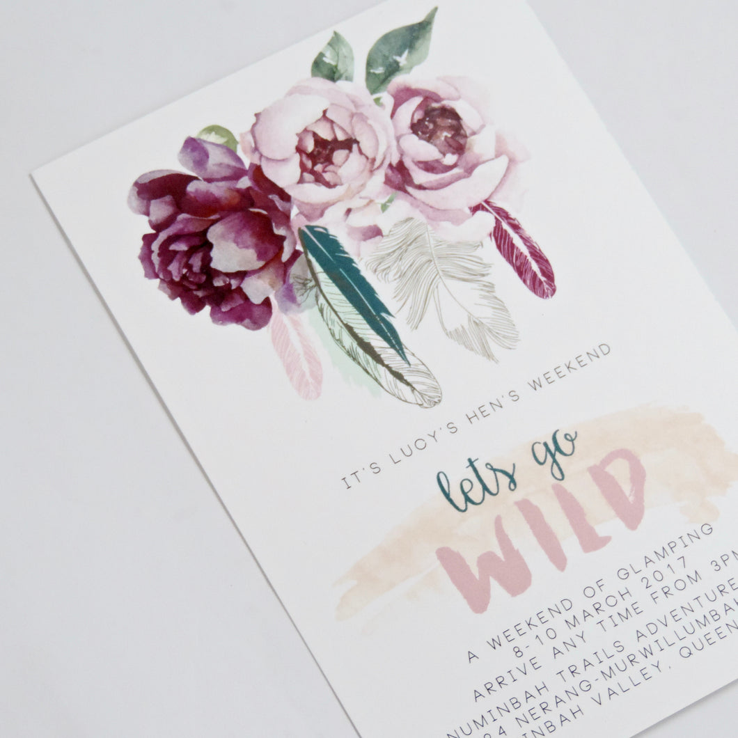 Wild Boho Floral Birthday or Hens Party invitation. Affordable Printable. Emma Smith