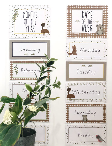 Australian Cuties Classroom Decor Bundle Days of the Week and Months of the Year