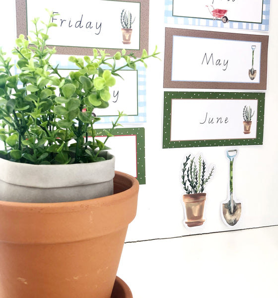 Gardening Classroom Decor Theme Download Printable Days and Months
