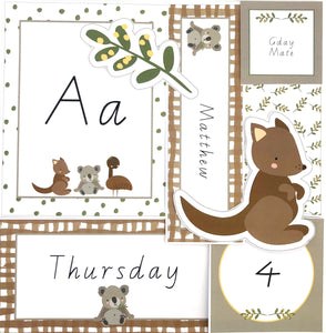 Flatlay of Australian Themed Organised Classroom Printable Download
