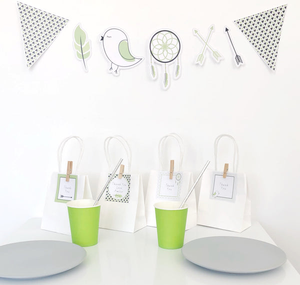 Fresh Green Boho Party Decorations Printable Download With Bunting