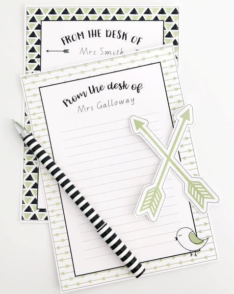 Fresh Green Boho Teacher Note paper Printable Download