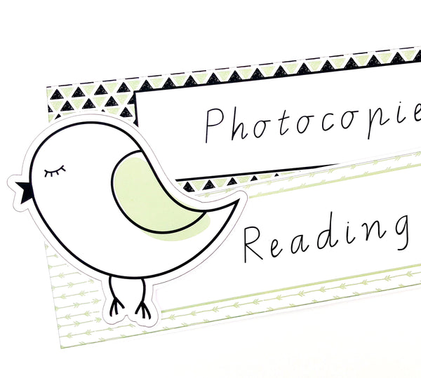 Fresh Green Boho Teacher Stationery Download Binder Labels