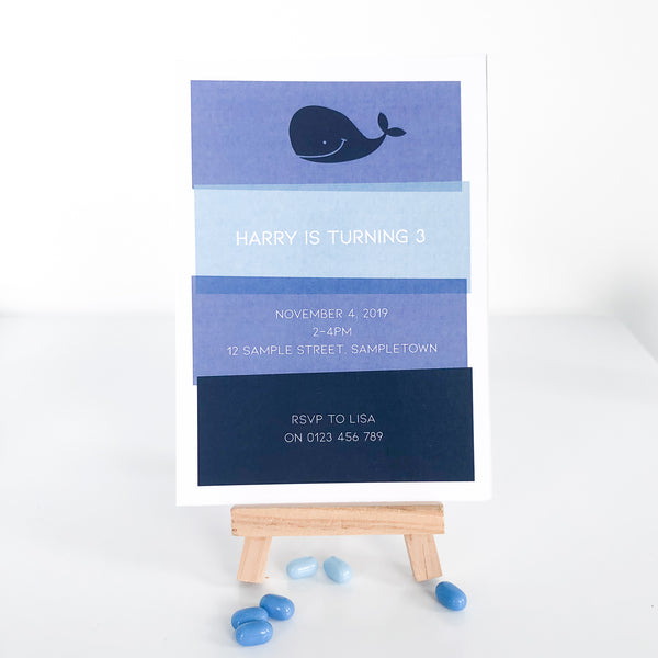 Digital birthday Invitation with Blue nautical Whale. Printable. Emma Smith