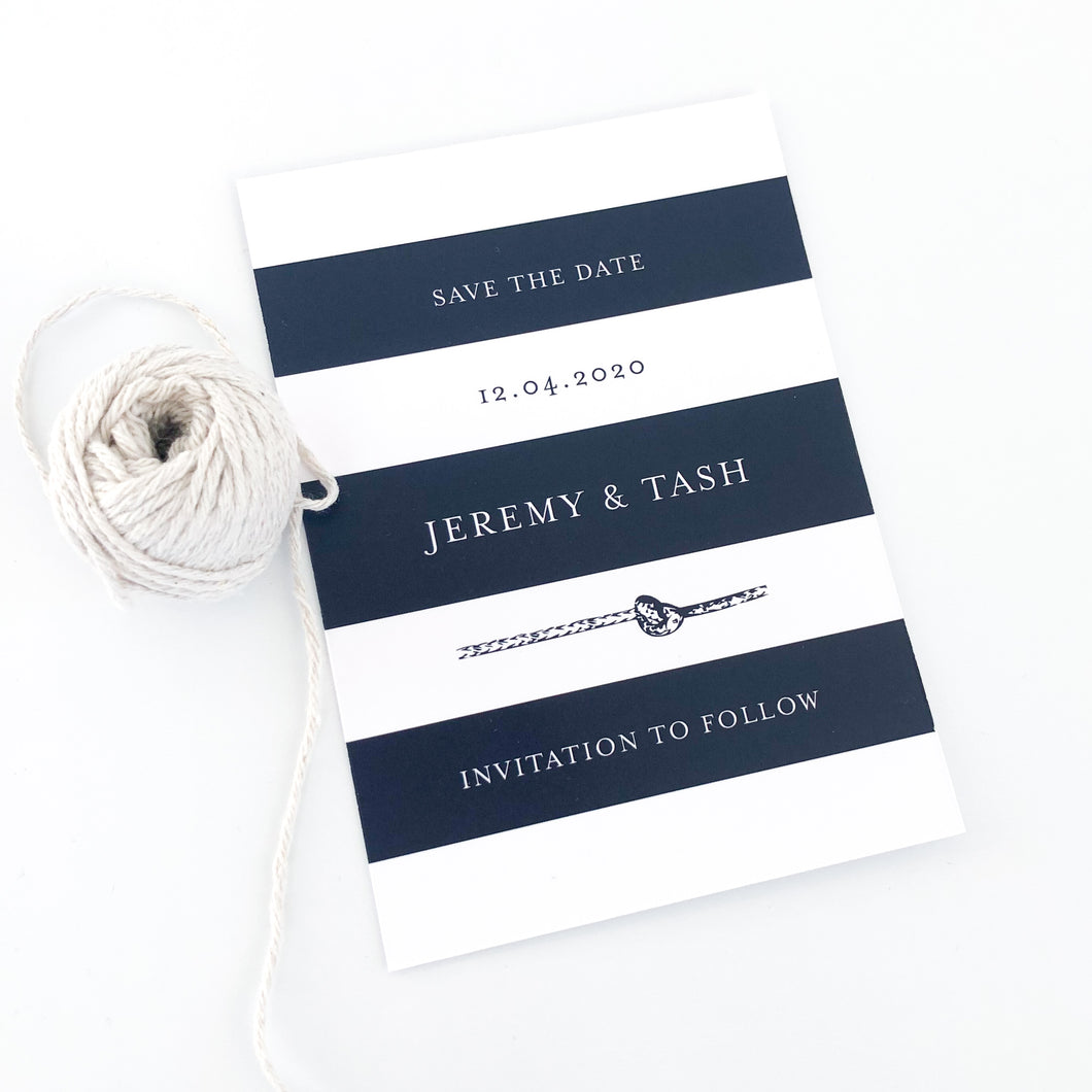 Nautical Knotted Navy Save The Date Card