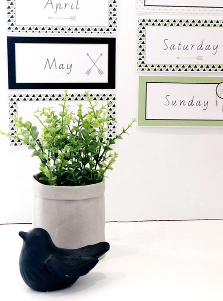 Fresh Green Boho Classroom Decor Printable Download Months and Days