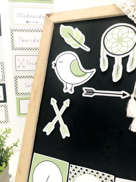 Fresh Green Boho Classroom Decor Printable Download Cut outs