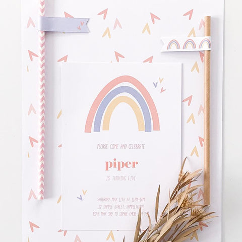 Fresh Modern Rainbow Printable Invitation Download | Emma Smith
