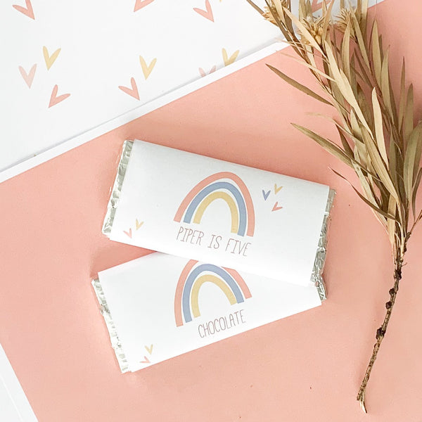 Fresh Modern Rainbow Printable Party Chocolate Wrapper Download | Emma Smith