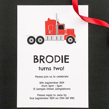 Bright Red Truck Birthday Party Printable Invitation Download | Emma Smith Stationery