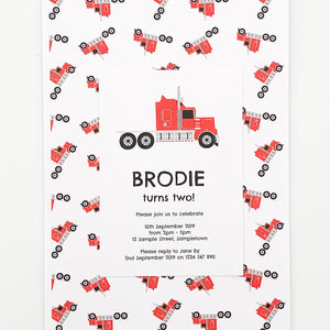 Bright Red Truck Birthday Party Printable Invitaiton Download | Emma Smith Stationery