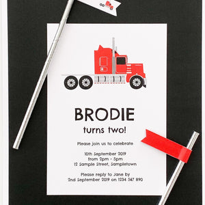 Big Red Truck Printable Birthday Party Invitation | Emma Smith Event Stationery