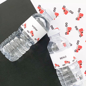 Bright Red Truck Birthday Party Printable Water Bottles Download | Emma Smith Stationery