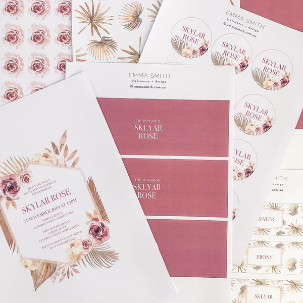 Dusty Pink Floral Modern Desert Luxe Invitation Printable