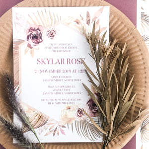Dusty Pink Floral Modern Desert Luxe Invitation Printable | Emma Smith Stationery