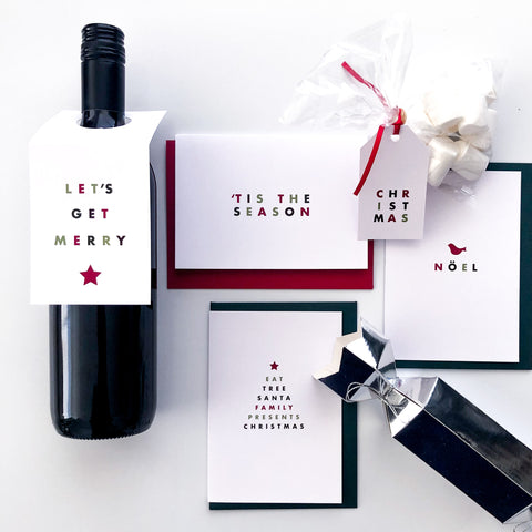 Minimal Modern Christmas Card set including wine Topper | Emma Smith Event Stationery