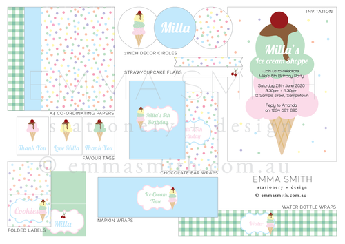 Ice Cream Party Invitation Template Download Printable Party | Emma Smith Event Stationery