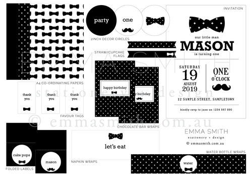 Little Man Printable Party Decoration Download Bundle