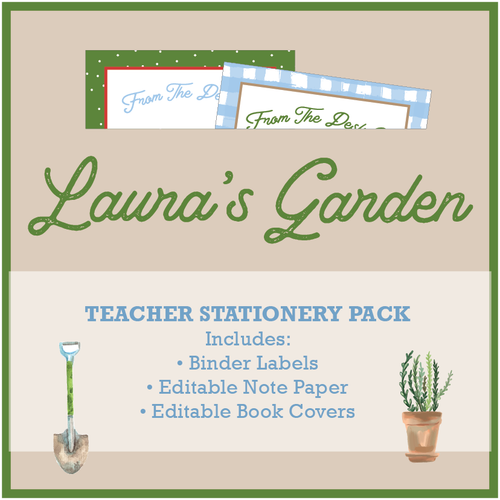 Gardening Teacher Stationery Theme Download Printable Bundle