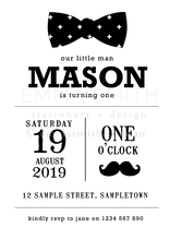 Little Man Digital Editable Invitation