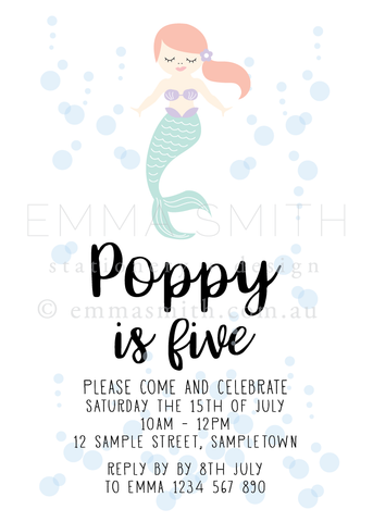 Mermaid Printable Invitation Template | Emma Smith Event Stationery